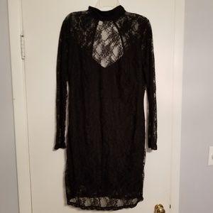Lace choker dress with open back